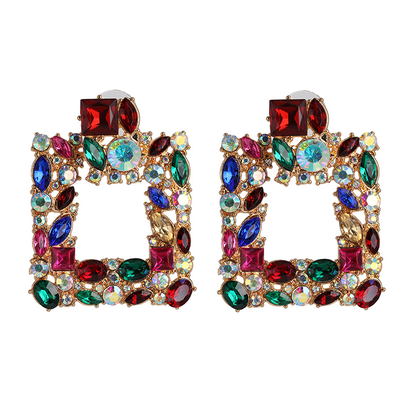 Geometric diamond full diamond earrings female retro stud earrings ear jewelry NHJJ190263