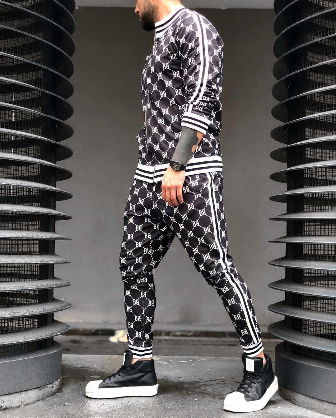 肌肉兄弟运动套装欧美潮流3D打印健身卫衣修身拉链开衫休闲套装男