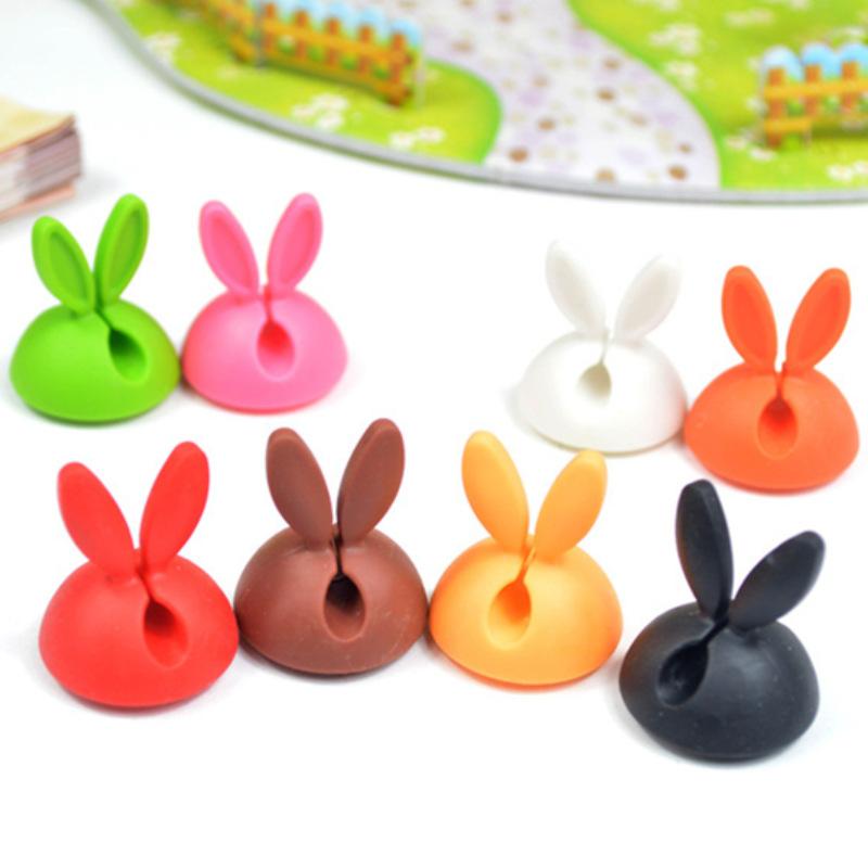 新款可爱型小兔子固线夹硅胶固线器耳机线绕线器数据线理线器线扣