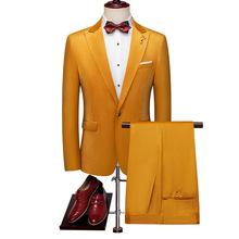 男士歐美風絲絨修身大碼西裝兩件套 外貿男式商務職業裝西服套裝