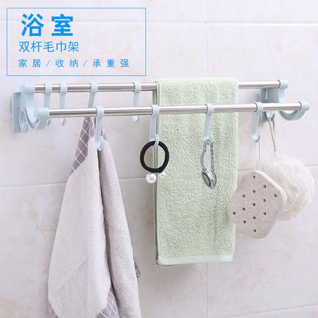 Khăn dán tường bằng thép không gỉ loại miễn phí đấm phòng tắm khăn que móc treo nhà vệ sinh móc một thế hệ