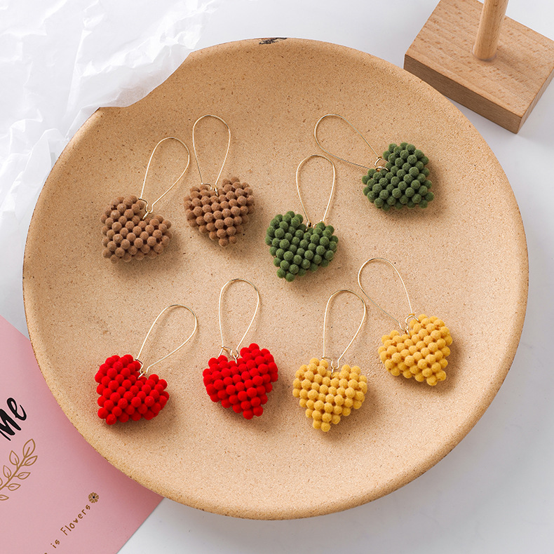 Autumn and winter plush love earrings female flocking earrings new earrings NHMS172966