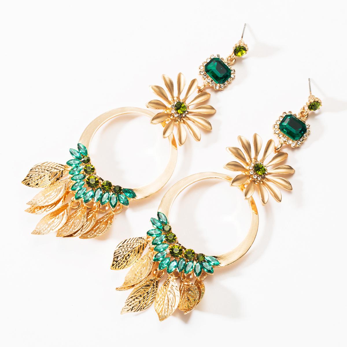 Vintage Alloy Floral Rhinestone Ring Leaf Earrings NHJE146863