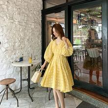 网红同款 2019夏季新款 仙女本仙儿 V领雪纺剪花蓬蓬减龄连衣裙