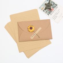 创意diy纸花信封情书复古信封信纸套装文?#25307;?#28165;新贺卡明信片收纳
