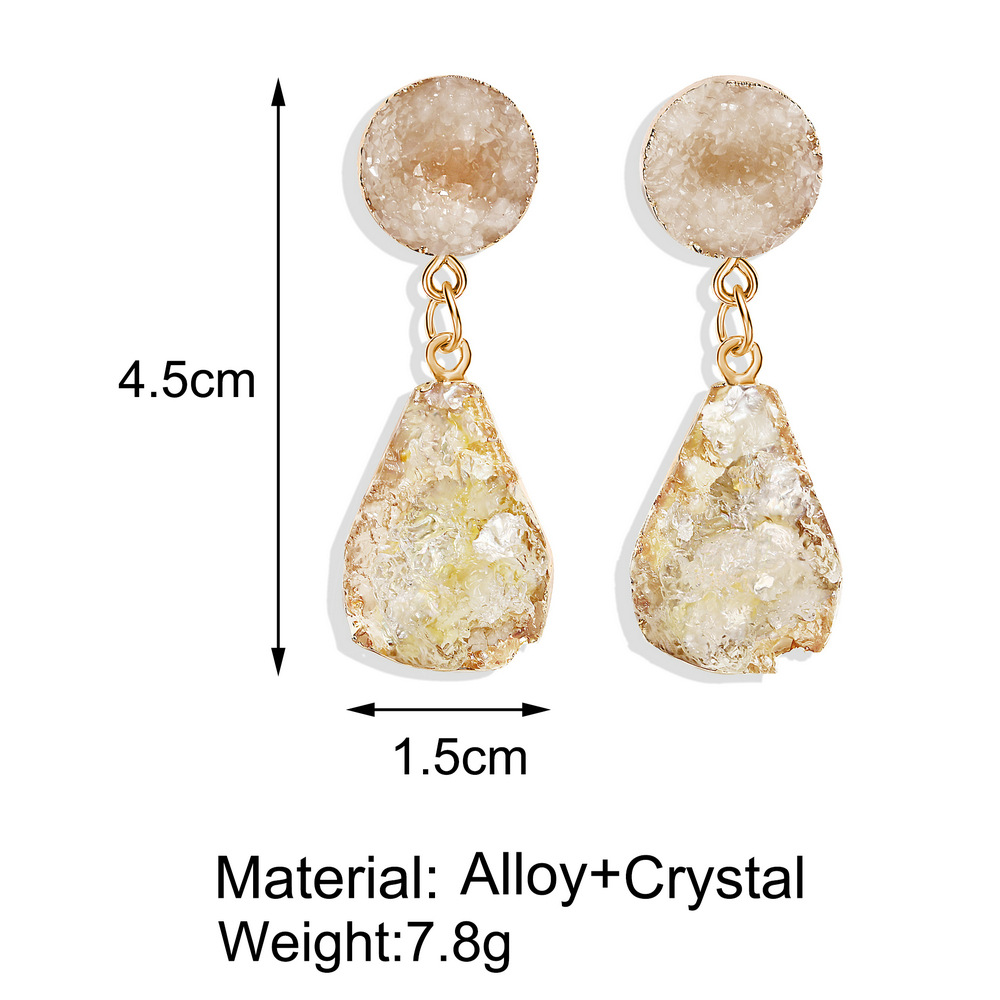 Creative vintage inlaid imitated crystal candy color drop ear studs NHPJ148012