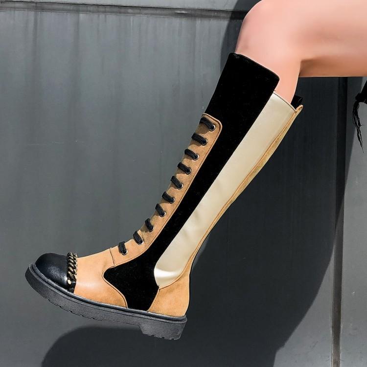 秋冬新款女靴子马丁靴高筒皮靴防滑女式个性网红靴弹力靴大码