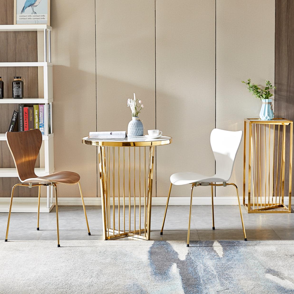 现代轻奢不锈钢餐椅小户型餐厅专用ins网红椅子北欧简约木板7字椅