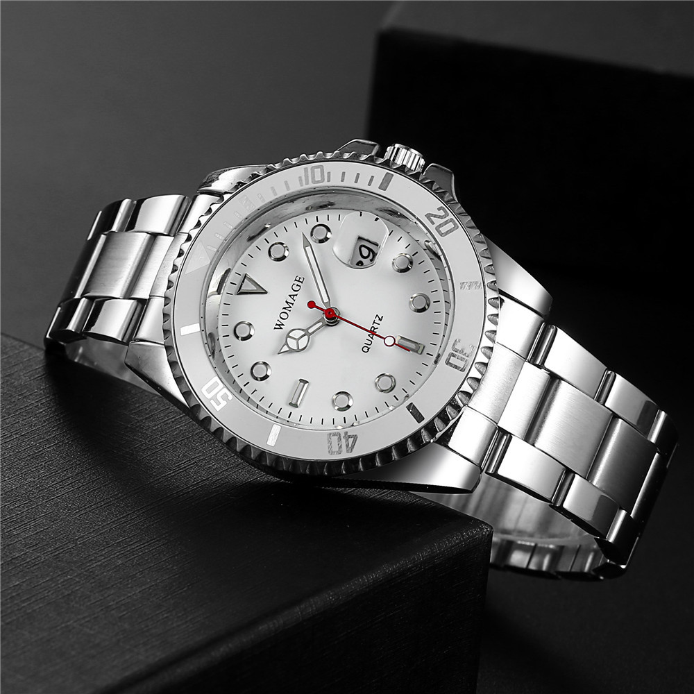 Men's Steel Band Watch Waterproof Sports Watch Large Dial Calendar Quartz Men's Watch NHSY199301