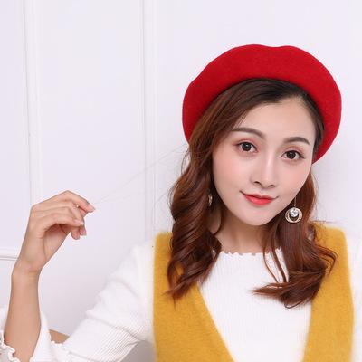 秋冬女士帽子 户外旅游保暖南瓜画家帽冬季韩版新款羊毛贝雷帽冬