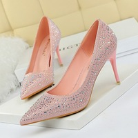 9219-A22 Korean fashion wedding shoes, high heels, thin heels, high heels, shallow pointed sexy banquet water drill shoes