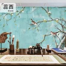 中式花鸟壁画墨绿色墙绘卧室无纺布墙纸古典客厅背景墙电视墙壁纸
