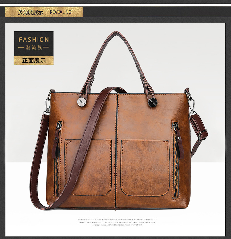 2019 new bags double pocket handbag simple stitching student shoulder bag 13