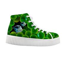 新款海底世界厚低低幫帆布鞋韓版松糕鞋來圖定制學生女鞋批發代理
