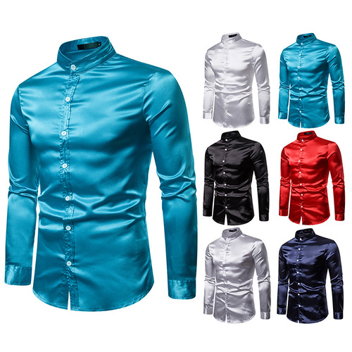 Men's silver red turquoise black stage performance glitter satin silk shirt high quality shiny long sleeve henley collar host singers shirt