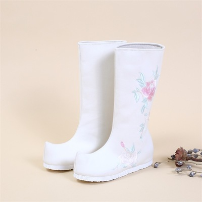 Ancient chinese Hanfu costume boots for Children girls women's fairy princess performance embroidered boots with inner height