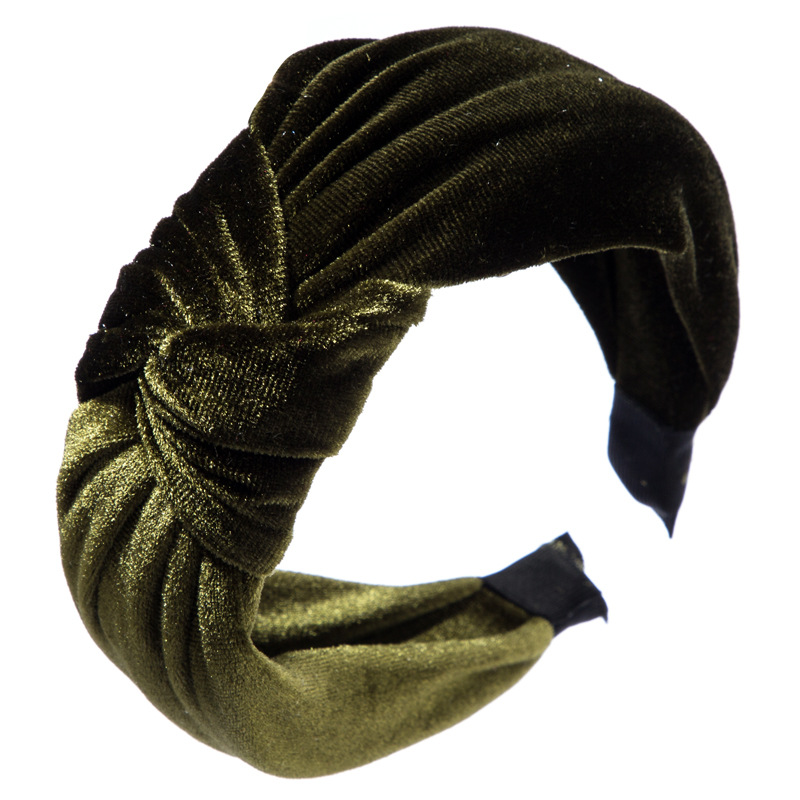 Headband female simple fashion personality retro gold velvet fabric knotted headband bow large wide-brimmed hair accessories NHLN172874