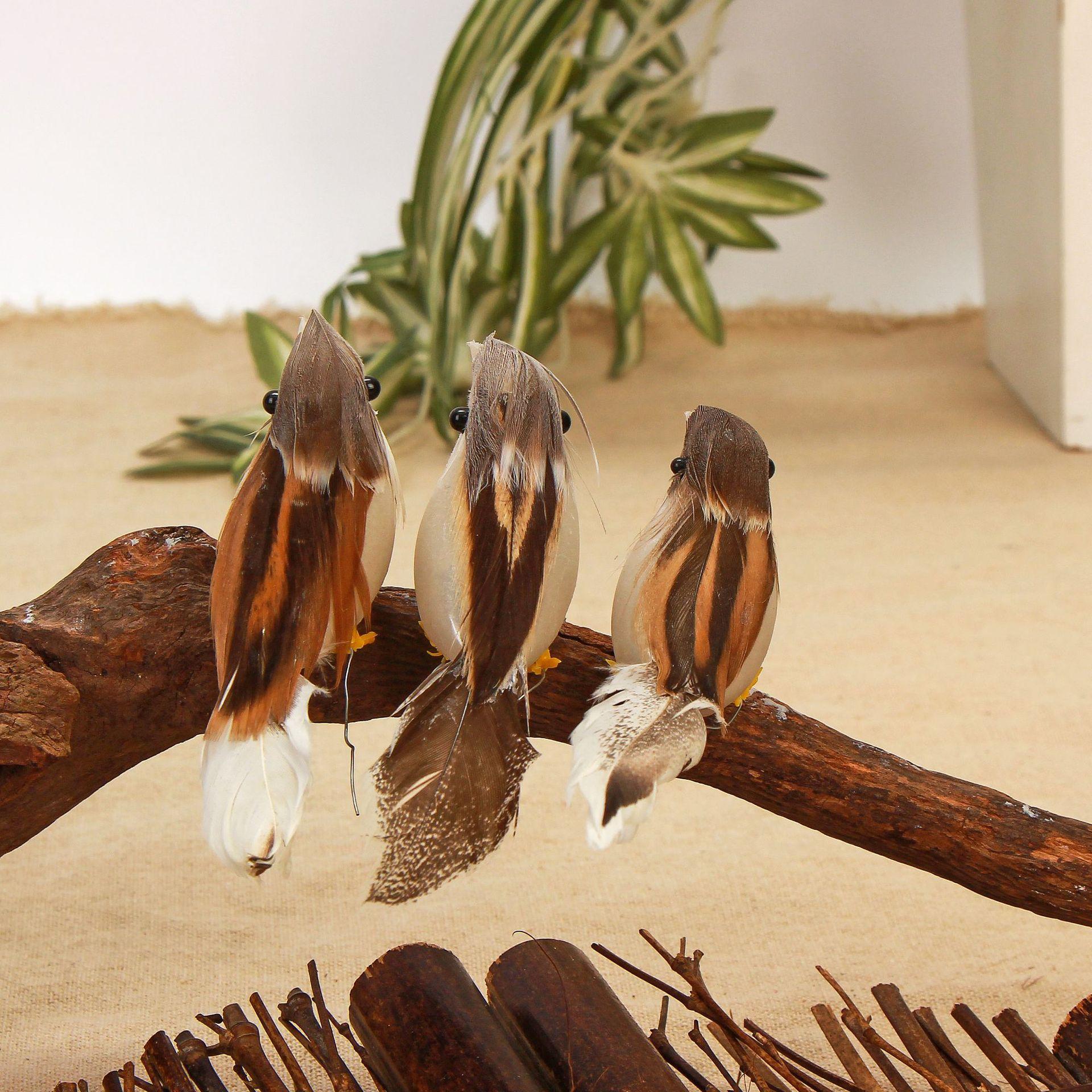 现货批发创意仿真羽毛小鸟仿真鸟工艺品复活节产品跨境货源