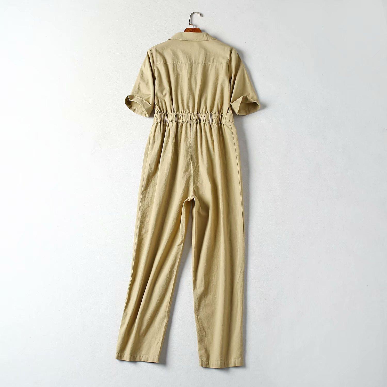 Autumn cotton sand wash one-piece short-sleeved overalls NHAM154866