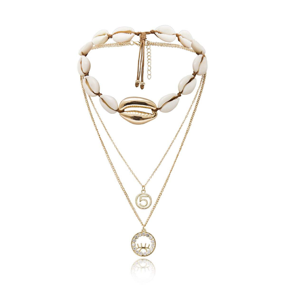 Womens Alphabet  Numbers  Text  Shells  Geometric Plating Alloy Necklaces NHXR124122
