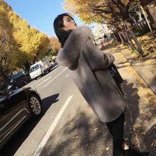2019秋冬赫本风高端奢华狐狸毛领双面呢大衣中长款宽松毛呢外套女