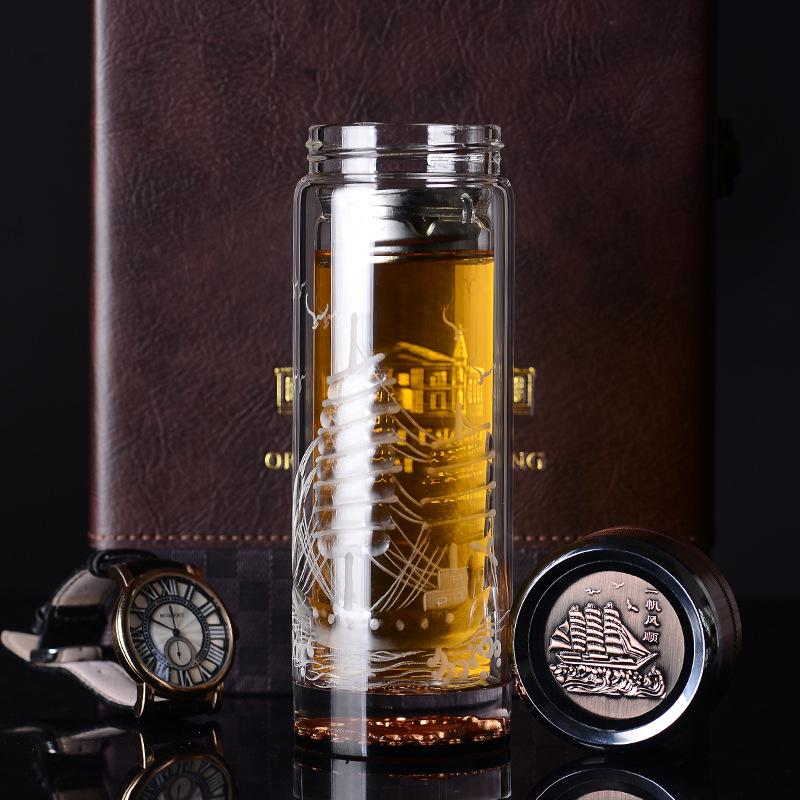 80元以上玻璃杯子生日水晶礼物1个高档办公礼品定制雕刻字送茶杯