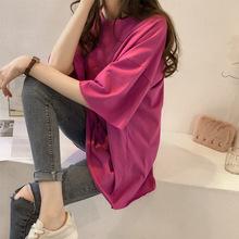 大碼夏裝2020新款糖果色短袖t恤女韓國ins半袖上衣服外貿女裝批發