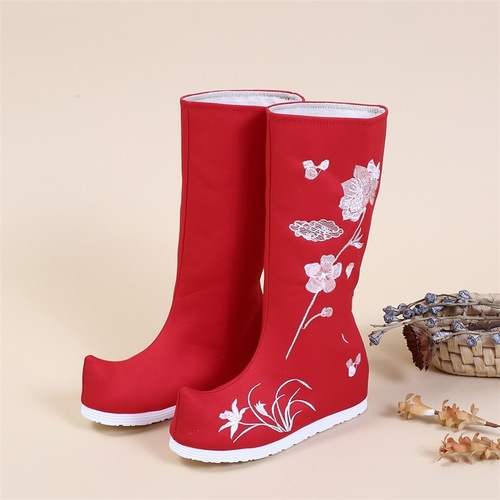 Ancient chinese Hanfu clothing shoes for female Ming hanfu boots embroidered shoe tube ancient hanfu kimono dress clothing boots