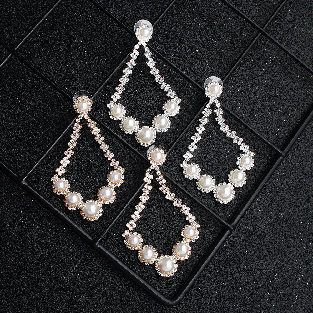 Fashion new exaggerated bigbrand trend banquet sexy pearl diamond earrings NHHS259927