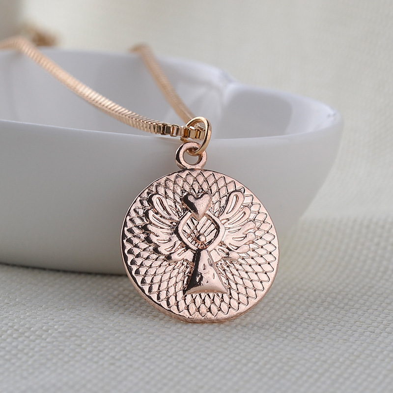 necklace clavicle chain fashion letter love guardian angel pendant necklace accessories wholesale nihaojewelry NHCU232752