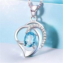 名侈时尚蓝色?#20449;?#30707;银项链女心形锁骨链简约韩国银饰天然水晶宝石