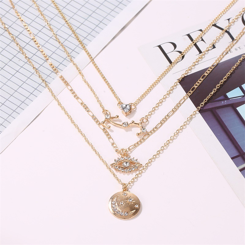 new long multi-layer disc moon trend love diamond eyes 4-layer pendant necklace for women NHCU248273