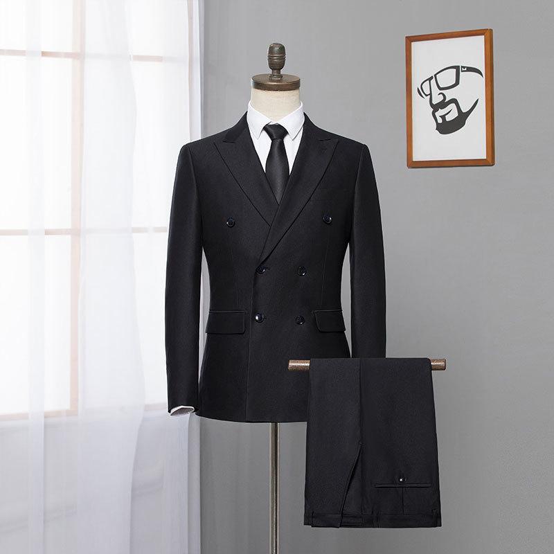 春秋季男士品牌剪标时尚韩版双排扣上班结婚礼服西装男伴郎套装批