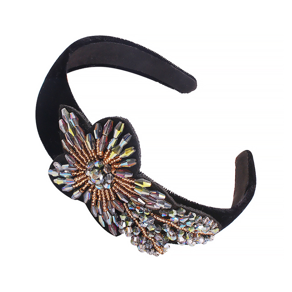 European and American exaggerated headband gorgeous rice beads flower headband NHMD190318