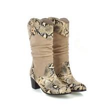 新款女靴现货发售跨境女鞋上新拼色蛇皮纹长靴欧美外贸原单高筒