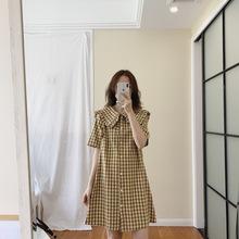 大翻领娃娃衫连衣裙女 2019夏款棉麻韩国娃娃裙花边中长款连衣裙