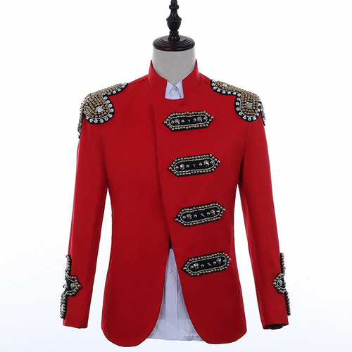 Nightclub male singer punk performance red black jackets pop DJ stage hip hop coats jazz singers band host performance clothes