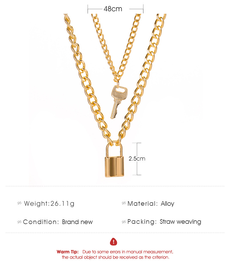New Necklace Hip Hop Lock Key Metal Pendant Necklace Necklace Exaggerated Thick Chain Double Necklace NHMO207984
