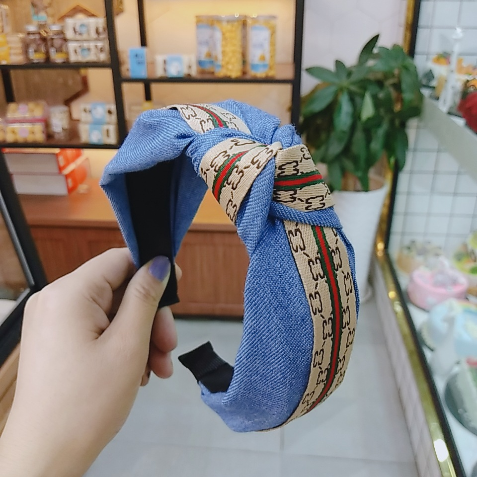 Korean fashion solid color wide-brimmed denim knotted headband letter ribbon fashion hairpin high-end temperament headband hair accessories wholesale nihaojewelry NHUX222344