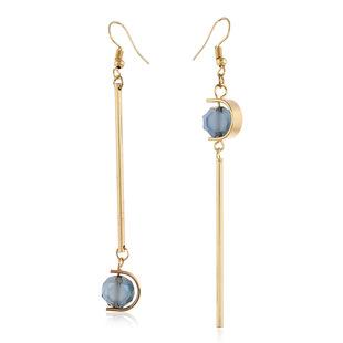 14k Long Tassel Crystal Earrings Blue Handmade Asymmetric Fashion Simple Halloween Earrings