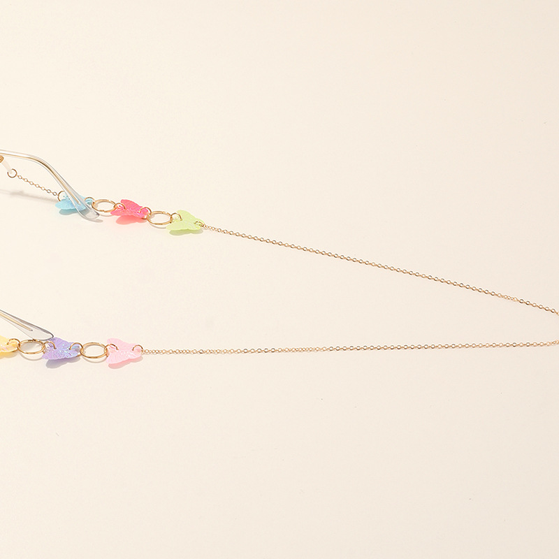 candy color sequin butterfly eyeglasses chain retro simple metal chain wholesale nihaojewelry NHAU242065