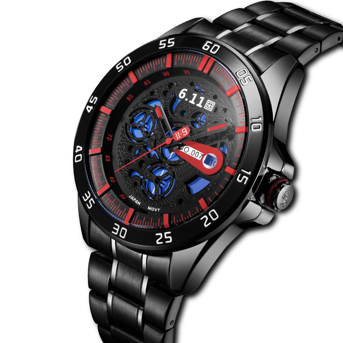 6.11光电转换表石英表 光电手表钢带水带日历光动能表