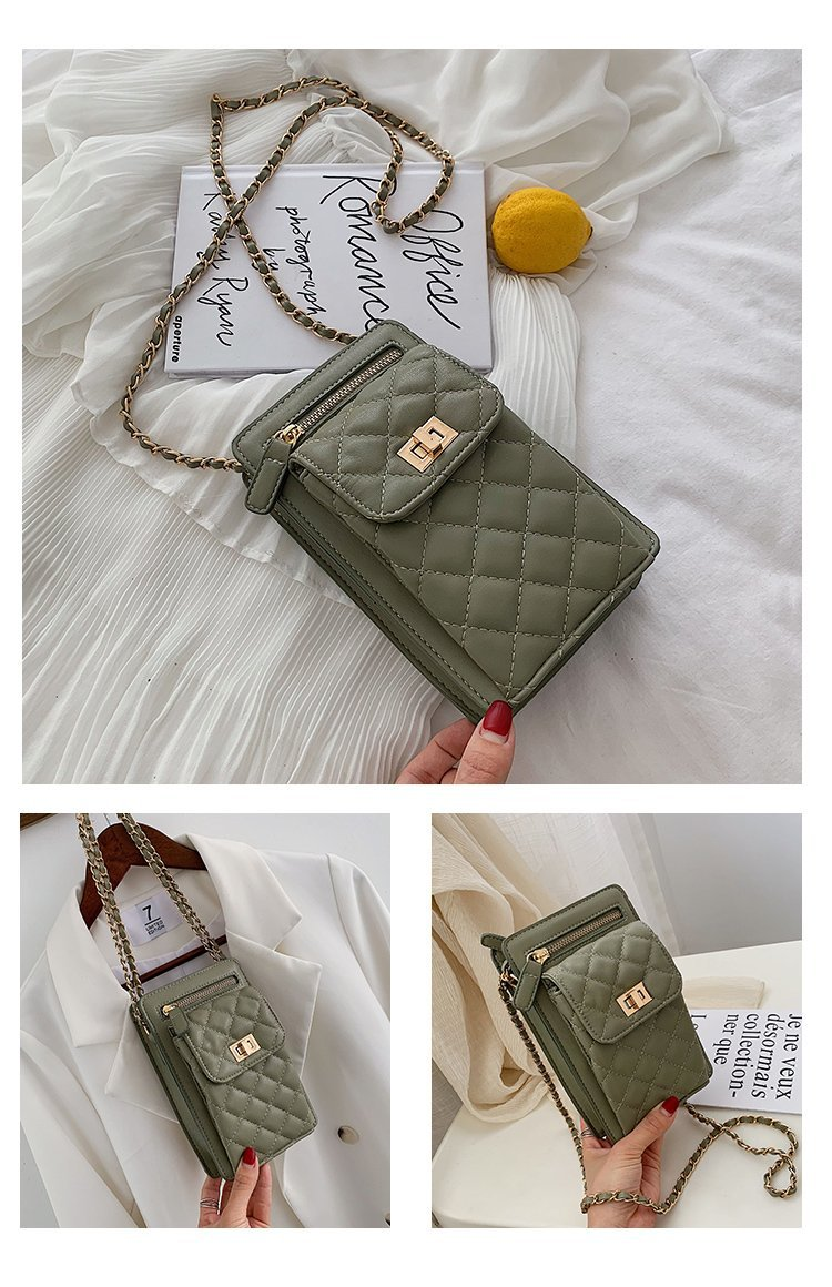New diamond chain shoulder bag wild mini crossbody small square bag mobile phone bag NHTC195530