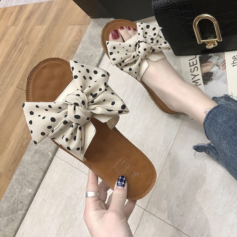 Bowknot polka-dot sandals and slippers w...