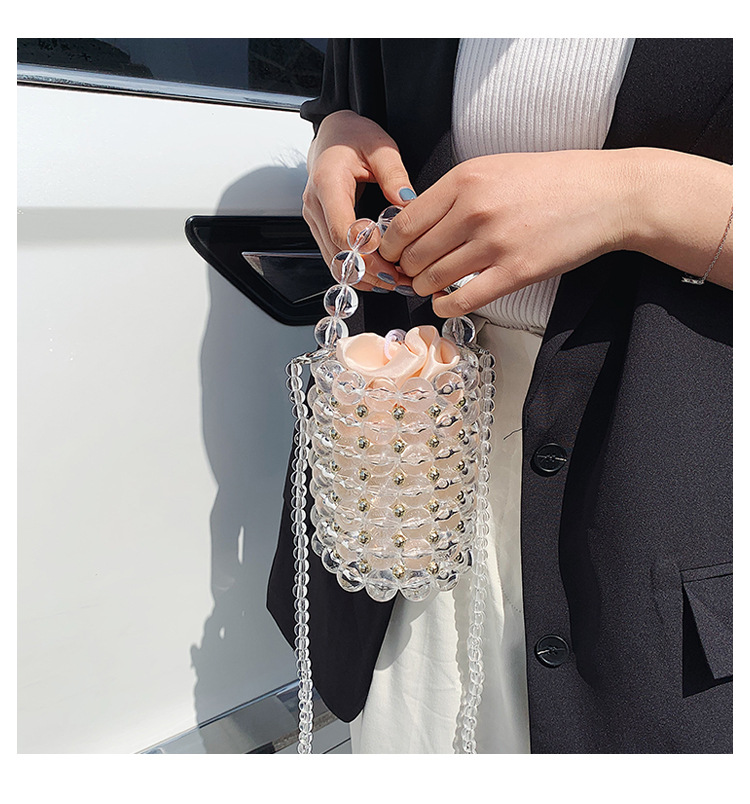 New fashion transparent dinner bag handmade beaded bag round barrel mini handbag pearl shoulder handbag NHGA212795