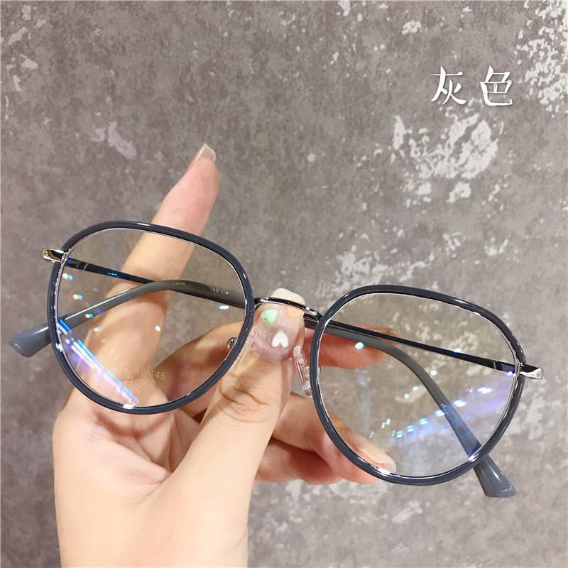 网红同款超轻近视眼镜女配度数圆形透明复古眼镜框素颜网红眼睛架