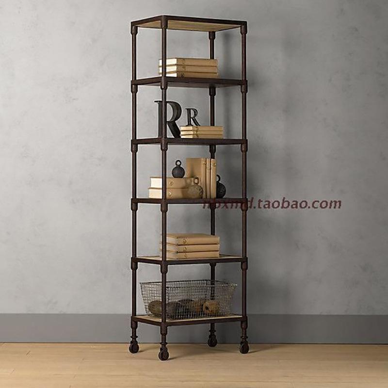搁板美式乡村置物书架复古落地实木铁艺怀旧风格陈列柜带轮可移动