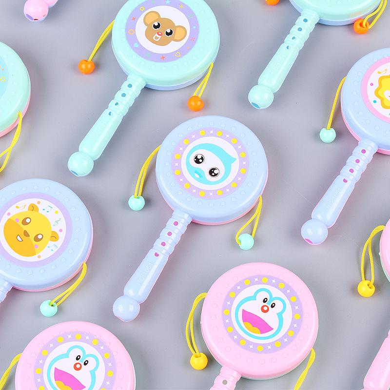 幼婴儿玩具卡通拨浪鼓0-3岁宝宝早教手摇铃摇鼓儿童玩具定制批发