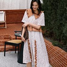 减龄法式娃娃领连衣裙春夏季2020新款韩版女装宽松中袖碎花裙子女