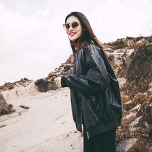 加绒加厚皮衣外套女2020年新款秋冬宽松韩版学生潮款pu夹克机车服
